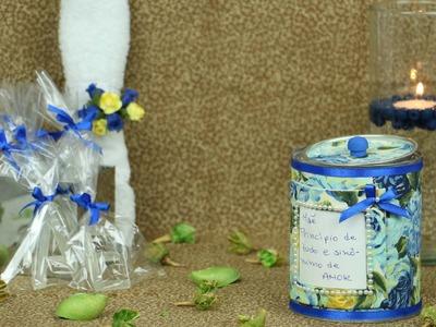 Embalagem Dia das Mães - Lata, Tecido e Sabonete