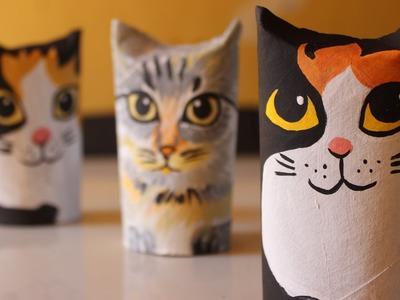 Gatinho Enfeite de rolos de papel higiênico - gato de rolinhos
