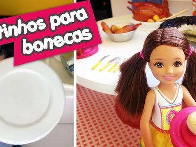 Pratinhos para bonecas Barbie e Monster High (Como fazer)
