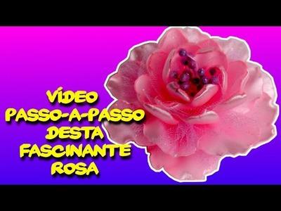 Vídeo Passo a Passo   Como Fazer Esta Fascinante Rosa De Fita De Cetim Cor Rosa   DIY PAP Vídeo Aula