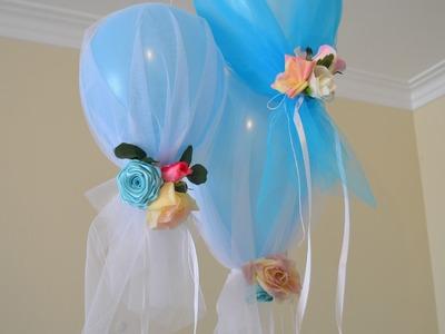 Como fazer decoração de festa infantil balões com tule tema Frozen da Elza