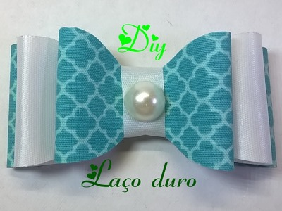 Laço duro com tecido e fita de cetim \ Hard knot of fabric and satin ribbon