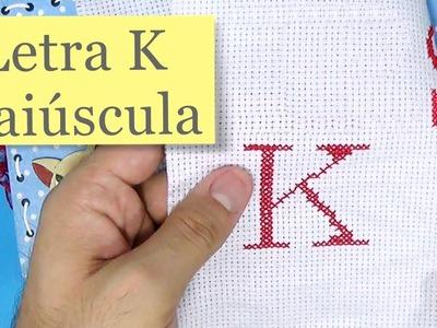 Letra K ponto cruz - Tutorial completo com avesso perfeito