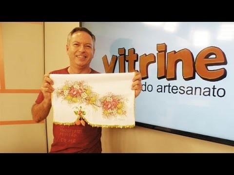 Pano de copa com rosas adesivadas com Luis Moreira | Vitrine do Artesanato na TV