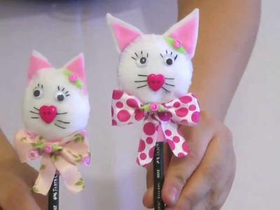 Ponteira de lápis em forma de gatinha