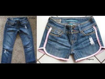 """Short jeans """"esportivo"""" by Customização & Cia"""