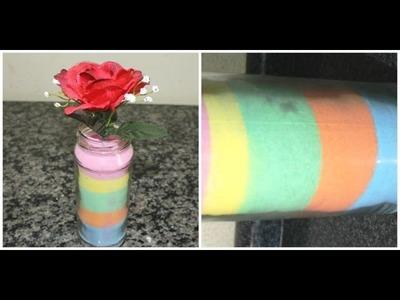 Como fazer areia colorida para decorar potes e garrafas.