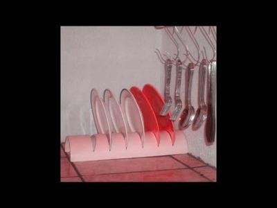 Escorredor de pratos com tubo de PVC