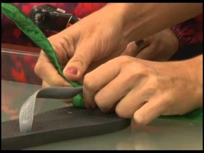 Fazendo Arte - Chinelo decorado com fita (14.05.14) - parte 2