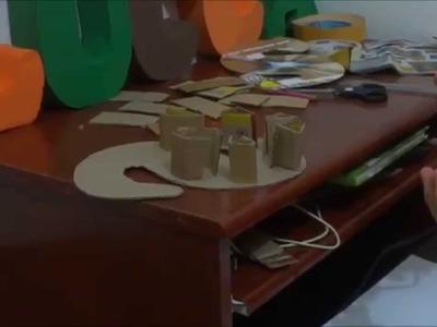 Letra S em 3D de papelão e EVA - Niver Luccas Safari