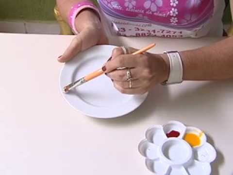 Arte com Teca Silvestre - Pintura em Porcelana - Corfix - Painting Porcelain -