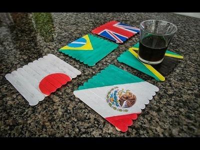 Artesanato com palitos de picolé - decoração para mesa - Elton Donadon