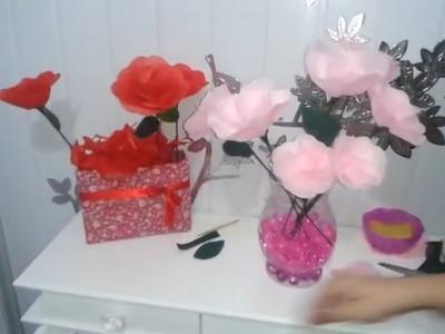 Aula 13 - Como fazer arranjos com flores de papel de seda (Rosas) - Artesanato