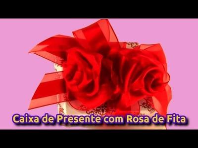 Caixa de Presentes com Rosa de Fita com Flores De Fita De Cetim
