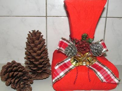 Como fazer vaso com caixa de leite para usar na decoração de natal!