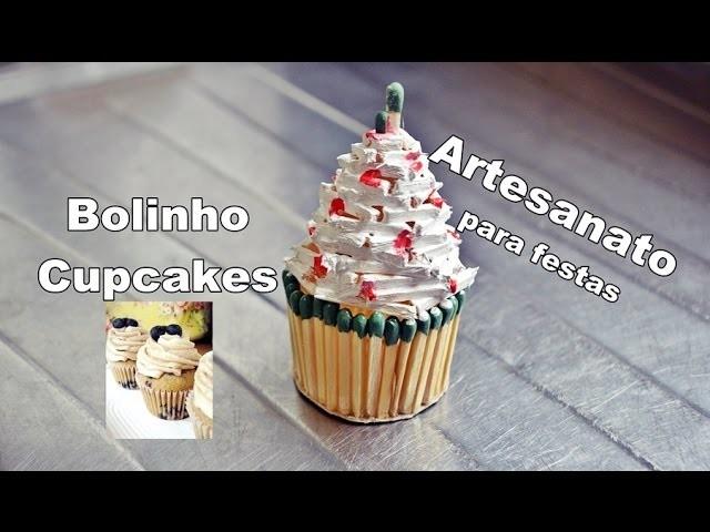 Decoração para festa de aniversario - bolinho Cupcakes de palitos - Artesanatos Elton Donadon