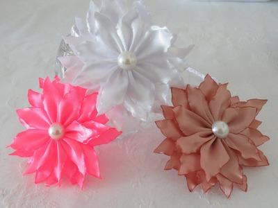 Flor Beliscada - Flor Queimada - Modelo #2 - FLor de fita de Cetim - Fabric Flower