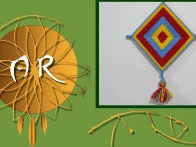 Mandala.Olho de Deus com hashi (palito japonês) e lã