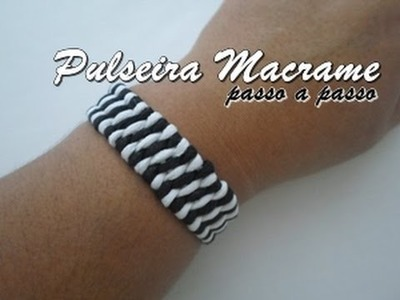 NM Bijoux - Pulseira de Macrame preta.branca