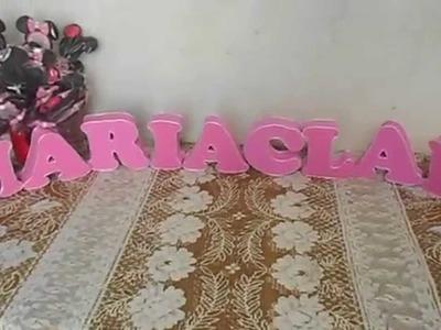 Preparativos da Maria Clara #P3 - Minnie Rosa - Convite + Letras 3D