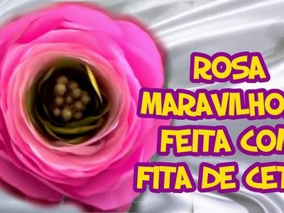 Rosa Maravilhosa feita com Fita de Cetim