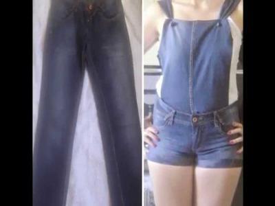 Transfome calça jeans em macacão