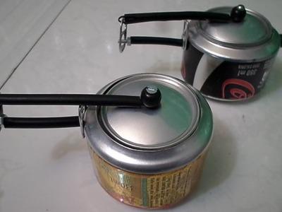 Como fazer panelinha de pressão de feijão de latinhas refrigerantes.