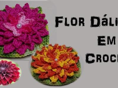 Flor Dália por Wilma Crochê - Flor de Crochê para Aplicação