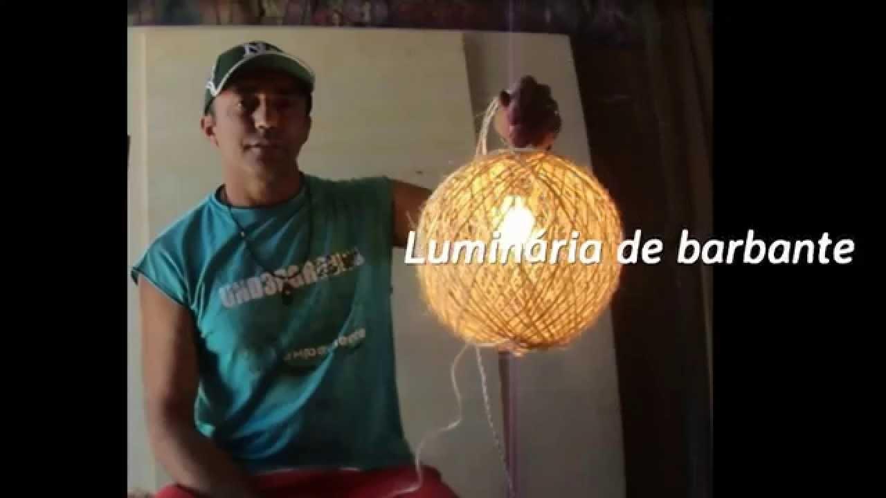 LUMINÁRIA PENDENTE DE BARBANTE PE u00c7A ARTESANAL DE BAIXO CUSTO