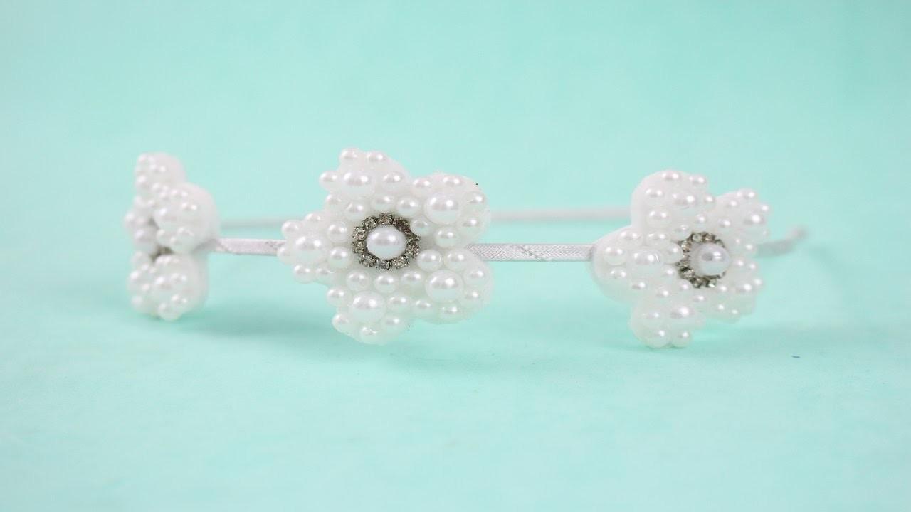 Passo a passo: tiara com flores de pérolas