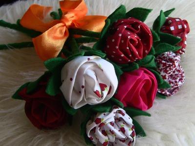 Rosas no Palito de tecido e feltro  - HOW TO MAKE ROSES- fabric flowers