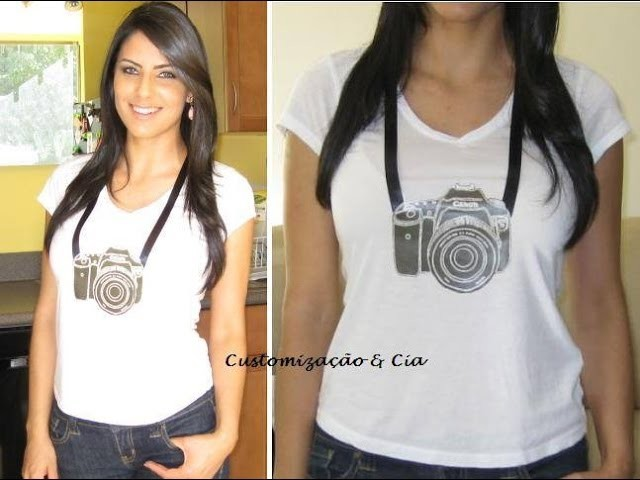 Camiseta com design de camera fotografica by Customização & Cia