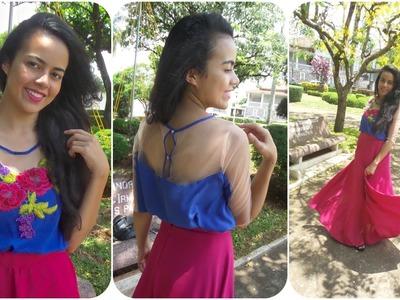 Como costurar blusa e manga com tule ilusion Alana Santos Blogger