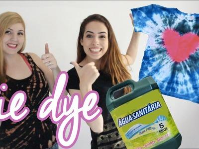 Como customizar camisetas com ÁGUA SANITÁRIA e TINTA EM PÓ - TIE DYE - ft Paula Stephânia