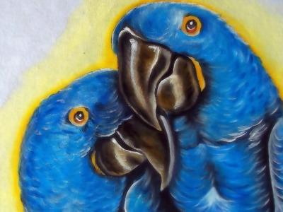Como Pintar Pássaros - Araras Azuis - Pintura em Tecido!