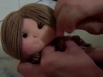 Passo a passo boneca de pano parte 3 (colocando cabelinho)