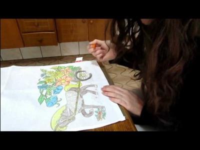 Pintando pano de prato com giz de cera