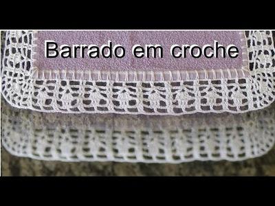 Barrado em crochê para pano de prato, toalhas.  com canto modelo 35