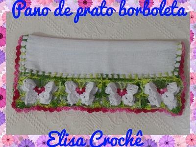 Barrado Pano de prato borboletas em crochê # Elisa Crochê