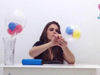 Como colocar vários balões dentro de um balão transparente - decoração com balões. bexigas