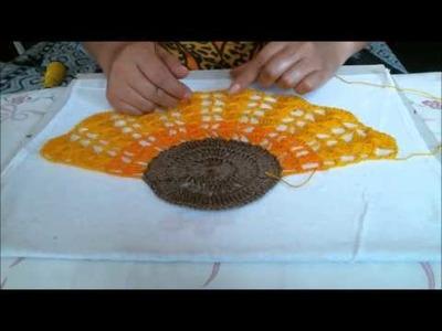 Como fazer Girassol de crocche com pintura em tecido 2 em 1 completo-Apostila risco num 47