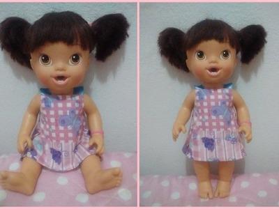 COMO FAZER VESTIDO SEM COSTURA PARA BABY ALIVE E OUTRAS BONECAS - SUPER FACIL - MODELO 1