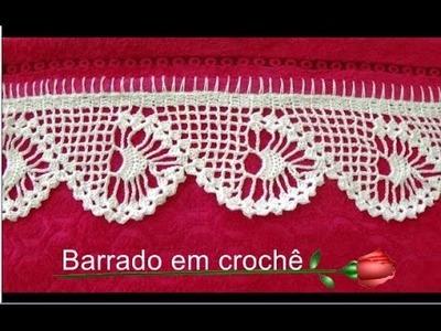 Como pregar o Barrado em crochê na toalha parte 2.2