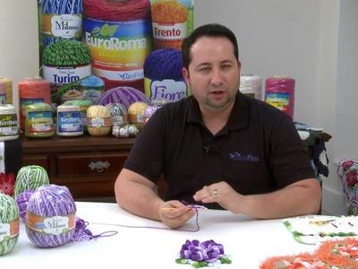 Crochetando com EuroRoma e Marcelo Nunes - Flor Rosa Colombiana