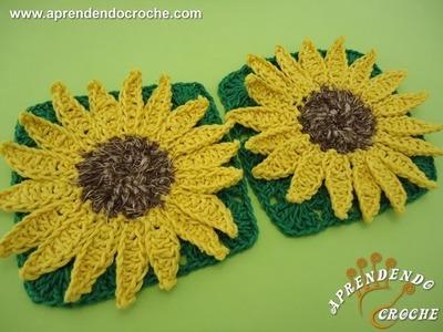 Flor de Crochê Girassol Rei