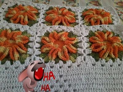 Flor de Crochê Para Aplicação no Jogo dos encostos das cadeiras