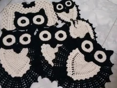 Jogo de Banheiro e Tapete Tipo Coruja - Preto e Branco ( Crochê )