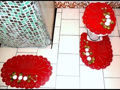 Jogo de banheiro em crochê: Capa para tampa do vaso #Parte1