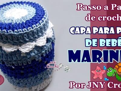PAP de crochê Capa para POTE de bebê Marinho por JNY Crochê