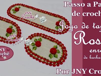 PAP Jogo de Tapetes de crochê Rosa enrolada por JNY Crochê